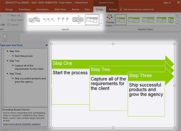 Use SmartArt to make Flowchart steps in PowerPoint