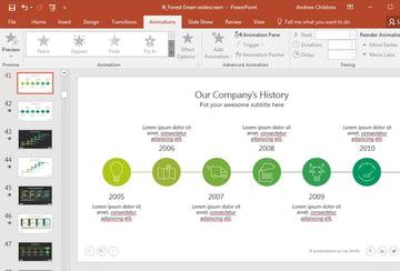Company timeline PowerPoint slide