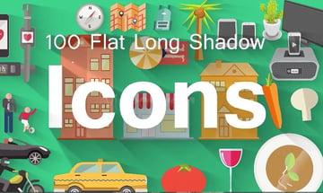 100 Flat long shadow icons