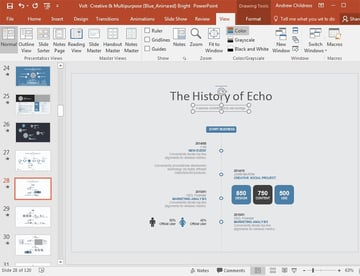 PowerPoint slide with timeline