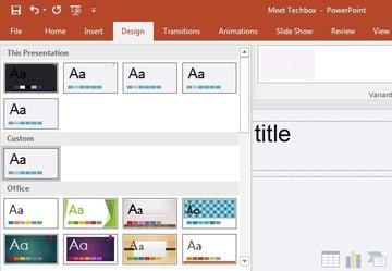 PowerPoint theme dropdown