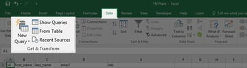 Data Get and Transform Excel ribbon