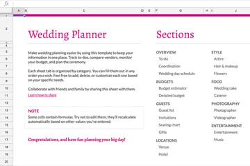 Wedding planner workbook