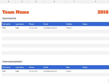 Team Roster in Sheets