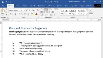 Outline example in Word
