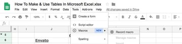 Use Macros in Sheets