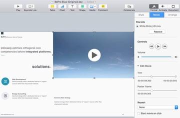 Video Settings in Keynote