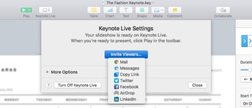 Share Invite Viewers from Keynote Live