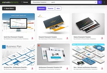 Envato Elements Screenshot of Gantt presentations