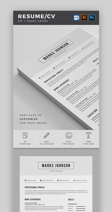 Resume CV Cover Letter Combo Pack