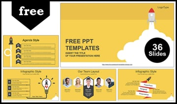 Rocket Launched PowerPoint Pitch Deck Template Free
