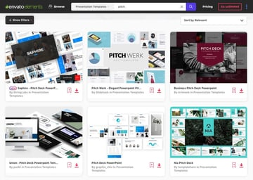 Pitch deck on Envato Elements template