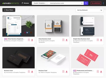 Envato Elements cleaning business cards
