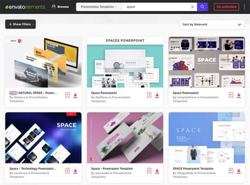 Envato Elements PowerPoint Space themes