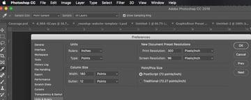 Changing the Photoshop Default Unit of Measure