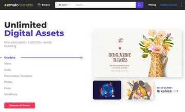 Envato Elements unlimited downloads from creatives