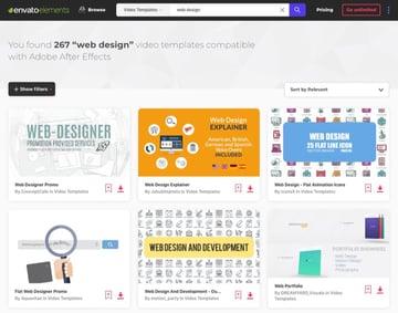 Envato Elements web design templates