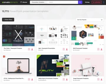Envato Elements PowerPoint designs