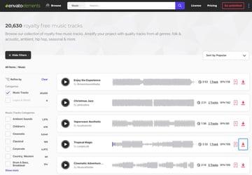 Envato Elements audio library