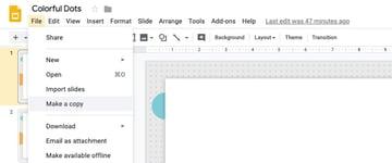 File Make a copy to save theme