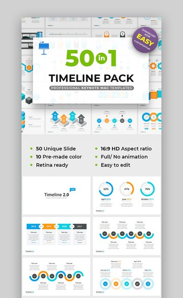50 in 1 Keynote Timeline template