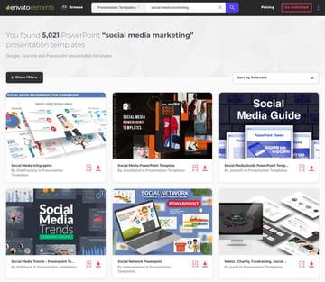 Social media PowerPoint templates Elements