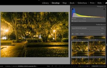 Select calibrated camera profile