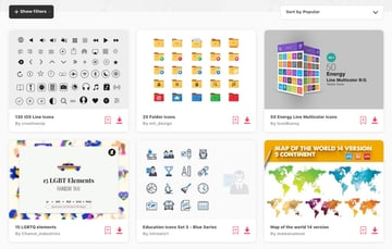 Icon library Envato Elements