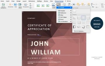 Shape editable certificate template Word