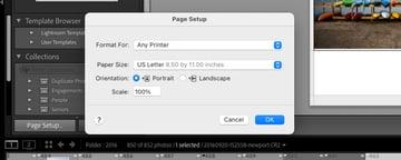 Page setup options