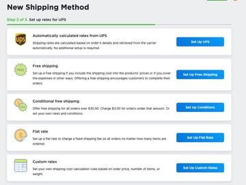 Shipping rates options UPS