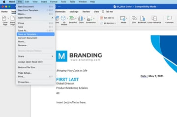Set template in Word