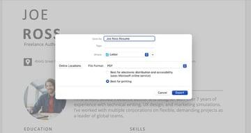 Save resume format Word file