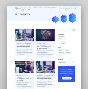 Cryptico - Tema de WordPress para Bitcoin, criptomonedas e ICO
