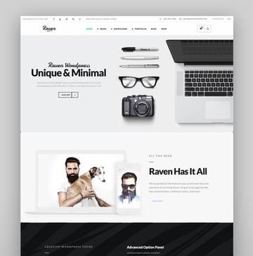Raven - Creative Black White Minimal WordPress Theme
