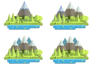 Positioning the mountain and its copies on the main scene