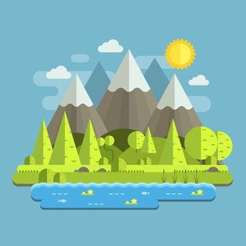Flat Mountain Landscape Adobe Illustrator Tutorial