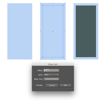 Forming a rectangle with outline
