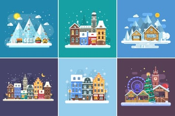 Christmas Travel Winter Backgrounds set on Graphicriver