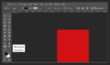 Setting the Ellipse tool to shape mode