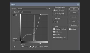 Adjusting the curves filter