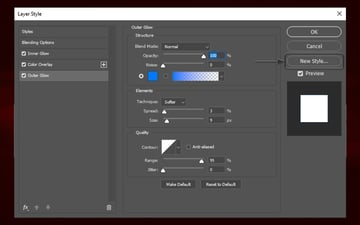 Outer Glow settings and how to save photoshop text effects