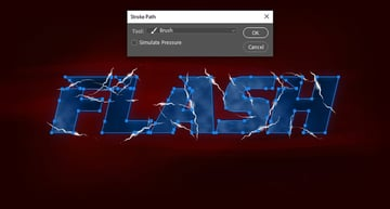 Stroking the text layer with the lightning brush