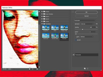Adding a texture to the photo art effect