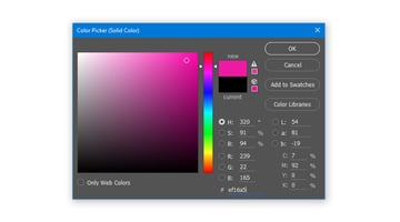 Create a Solid Color Fill layer with hex color code ef16a5