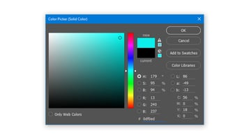 Create a Solid Color Fill layer with hex color code 0df0ed