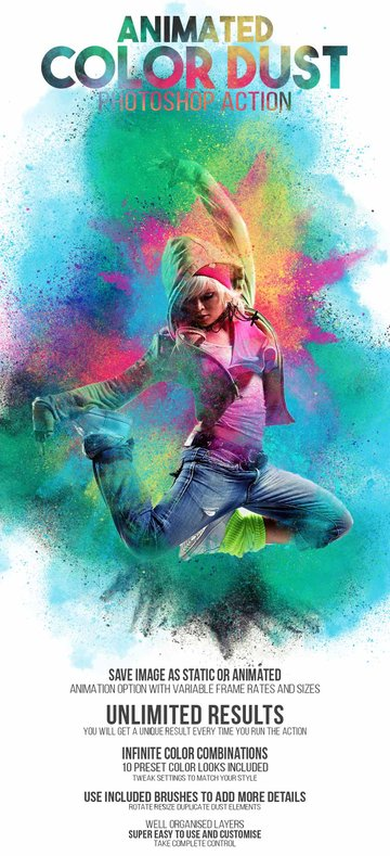 Animated Color Dust Photoshop Action