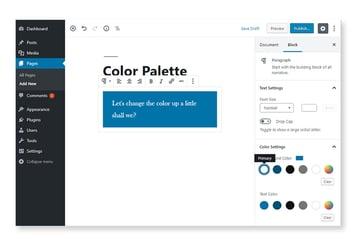 Block color palette options