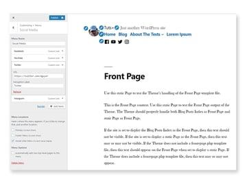Social links menu