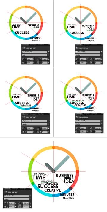 Create a text inside clock